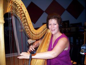 Martha Bush on the pedal harp at Eclipse Recording Company