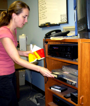Krysta Brown Transferring VHS to DVD's at Eclipse Recording Company