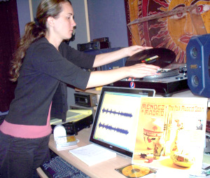 Krysta Transferring an old record to CD at Eclipse Recording Company