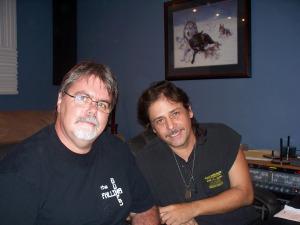Joe Santana and Jim Stafford at the controls in Eclipse Recording Studio
