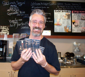 Chris, owner of Coffee Creations now Selling the charity Christmas CD from Eclipse Recording Company