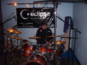 Rob Piazza on the studio drums at Eclipse Recording Company