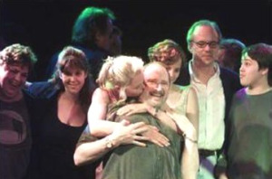 In foreground Michelle Phillips kisses Denny Doherty.  In the back, from left are Spanky McFarlane, Owen Elliot, Bijou Phillips, Jeffrey Phillips and Shane Baracan (John's grandson)