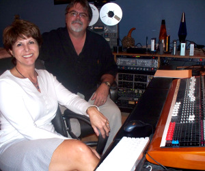 Kim White and Jim Stafford in the control Room at Eclipse Recording Company