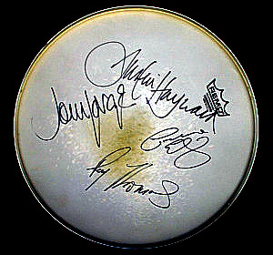 Signed Moody Blues Drum Head, a gift from Steve Corliss Bryant, at Eclipse Recording Company