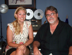 """Mary Elizabeth from """"The Buzz"""" with Jim Stafford at Eclipse Recording Company"""