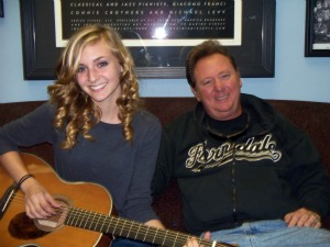 Rachel Carrick with her dad, Jim Carrick at Eclipse Recording Company