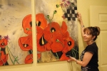 "Hanging ""Poppies With A Checkered Past"""
